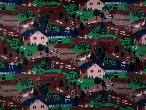 John Deere Fleece Throw Farm Scene