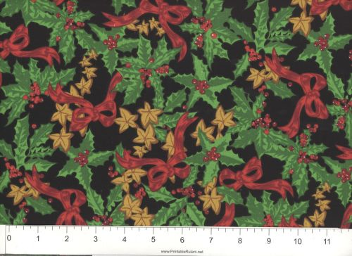 Christmas Bells and Ribbons with Holly allover Quilting Cotton Fabric BTY